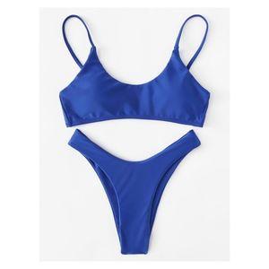 Solid Blue High Leg Cheeky Bikini Set